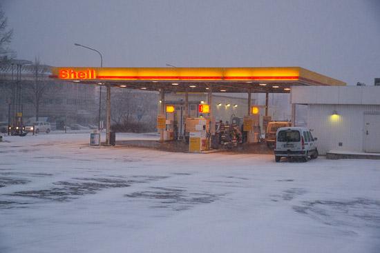 Snöfallet börjar tillta i Uppsala