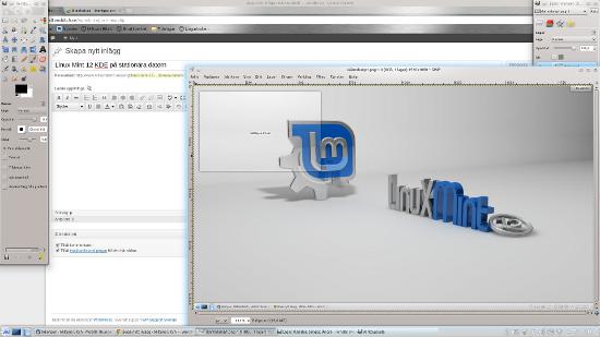 Linux Mint 12 KDE på den stationära datorn