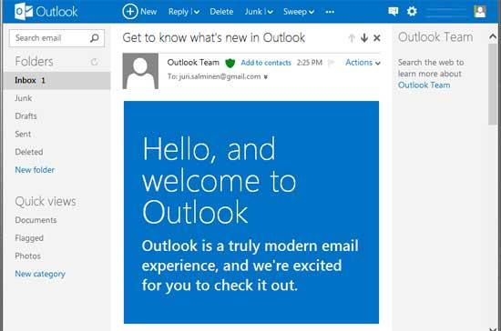 Outlook istället för Hotmail