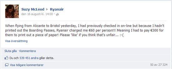 Dyrt att flyga med Ryanair utan papper