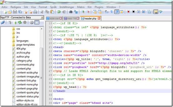 Använd Notepad++ inbyggda FTP-klient