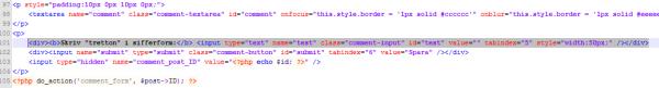 Lägg till ett textfält i comments.php
