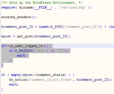 Lägg till verifieringskoden i wp-comments-post.php