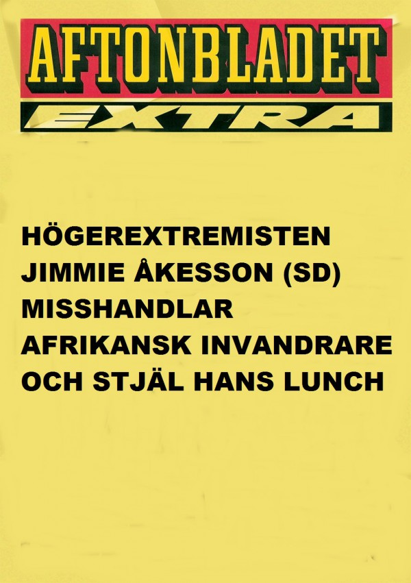 Jimmie Åkesson misshandlar afrikansk invandrare och stjäl hans lunch