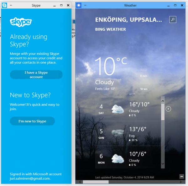 Moderna Appar körs i vanliga fönster i Windows 10
