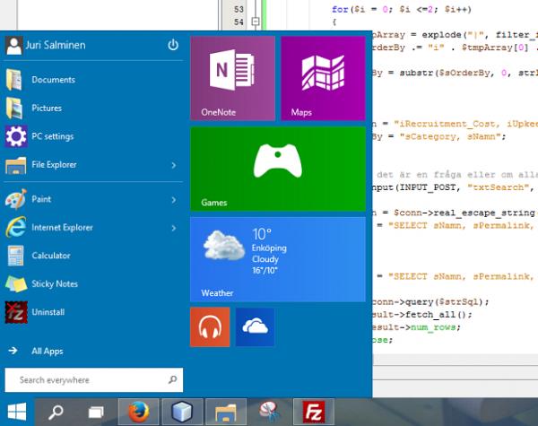 Startmenyn i Windows 10 har stöd för Live Tiles