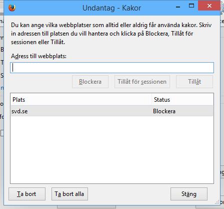Blockera cookies/kakor för SvD.se
