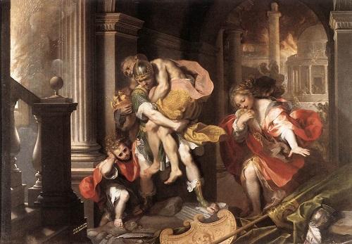 Aeneas bär sin far genom det brinnande Troja