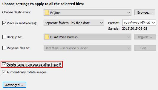 Du kan låta ACDSee radera bilderna automatiskt efter importen