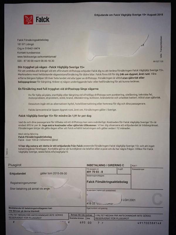 Erbjudande/faktura från Falck Väghjälp (klicka för större bild)
