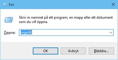 Starta Regedit för att redigera i Windowsregistret