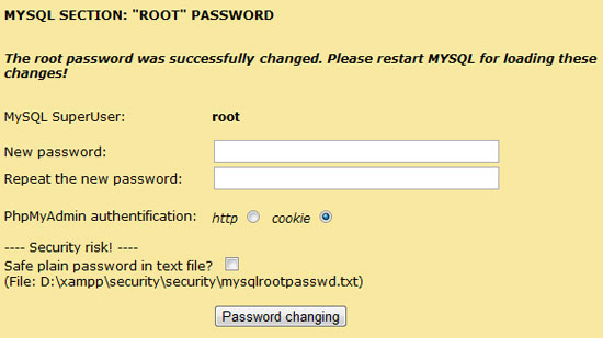 Lösenord för XAMPP