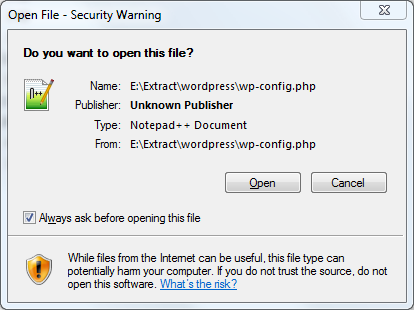 Varning vid öppnande av PHP-filer
