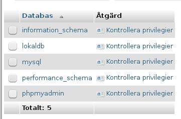 "Välj MySql-databasen ""lokaldb"" från listan"