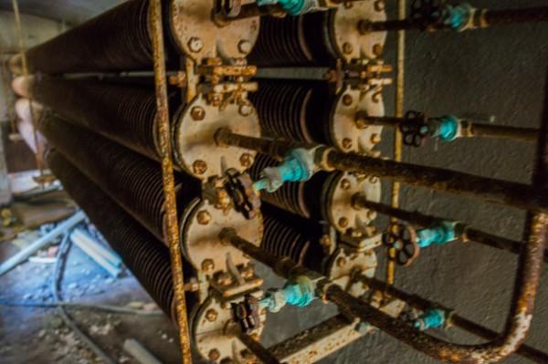 Radiatorer i fasta paviljongens källare