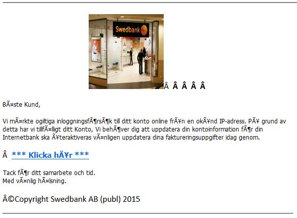 E-post som försöker utge sig vara från Swedbank
