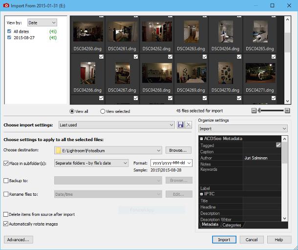 Importera foton från din kamera med ACDSee Pro 8